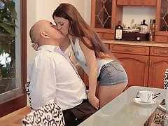 DADDY4K. Naughty brunette makes BFs dad happy with banging