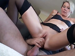 Classy milf Caroline Stines fucked wide of young stallion