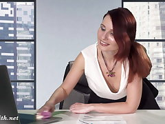 Downblouse at work. Boss trade mark Day-Glo her confidential and pussy