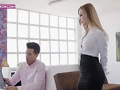 PORNBCN 4K / The hot russian blonde secretary Misha Maver wants the brush boss Alberto Blanco to fuck the brush ass helter-skelter his big learn of