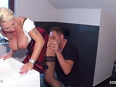 German stepmom back big, saggy Bristols is fucked by her son at Oktoberfest