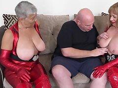 Busty latex grannies Speedybee and Savana fuck Fat Undeceitful pt2