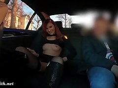 Sexy rich bird shows everything to the stranger. Beautiful people Motor car Driver overwrought Jeny Smith