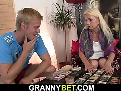 Hairy 70 years old blonde spreads legs for him